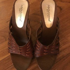 Authentic Dolce & Gabbana Brown Leather Heal Shoes